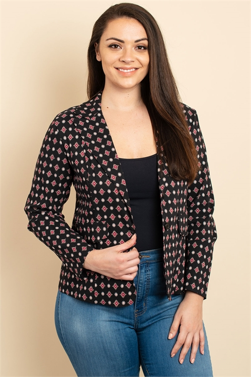 C26-A-1-J3072X BLACK PRINT PLUS SIZE JACKET 3-2-2