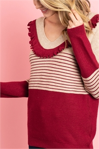 S9-11-2-S10813 BURGUNDY TAN SWEATER 2-2-2