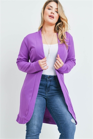 S12-3-1-C089X PURPLE PLUS SIZE CARDIGAN 4-1-1