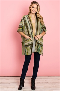 S13-6-2-C2466 GREEN STRIPES CARDIGAN 2-2-2