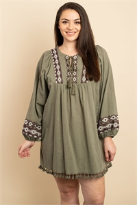S9-7-1-D2333X OLIVE EMBROIDERY DRESS 2-2-2
