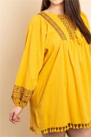 S16-9-3-D2333X MUSTARD EMBROIDERY DRESS 2-1-1
