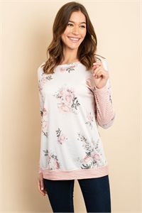 C32-A-2-T1061 PINK FLORAL TOP 1-2-2-1