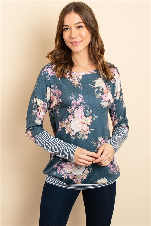 C32-A-3-T1061 NAVY FLORAL TOP 1-2-2-1