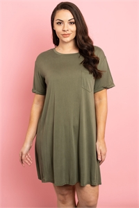 S13-3-2-D43137X OLIVE PLUS SIZE DRESS 3-2-1