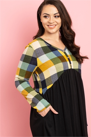 C42-A-1-D1097X BLACK YELLOW CHECKERED PLUS SIZE DRESS 3-2-2