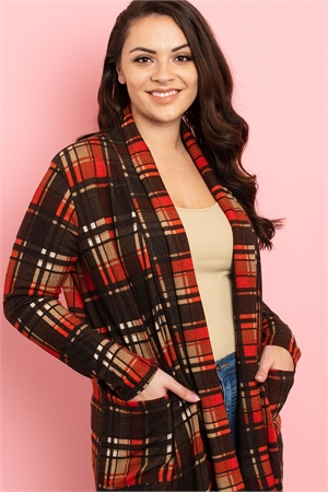 C54-A-1-C22631X BROWN RUST CHECKERED PLUS SIZE CARDIGAN 2-3-2