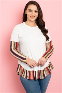 C52-A-2-T22711X IVORY MULTI PLUS SIZE TOP 2-2-2