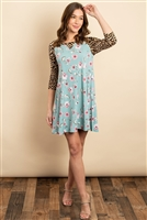 C62-A-1-D1101 MINT FLORAL ANIMAL PRINT DRESS 2-2-2
