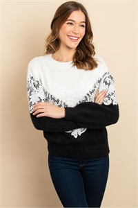 S9-10-2-S12105 BLACK IVORY SWEATER / 6PCS