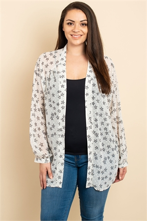S9-10-3-C4078X OFF WHITE PRINT PLUS SIZE CARDIGAN 2-2-1