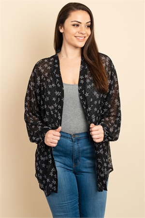 S9-10-3-C4078X BLACK PRINT PLUS SIZE CARDIGAN 2-3-2