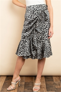 S13-10-1-S3202 GRAY BLACK ANIMAL PRINT SKIRT 2-2-2