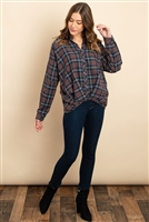 S9-7-3-T21831 OLIVE NAVY CHECKERED TOP 3-3