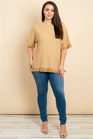 SA4-7-2-T22185X TAUPE PLUS SIZE TOP 2-2-2