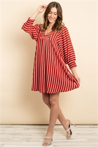 S13-9-3-D4362 BRICK STRIPES DRESS 2-2-2