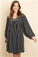 S13-9-3-D4362 BLACK STRIPES DRESS 2-2-2