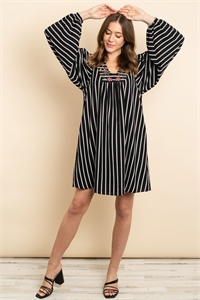 S13-12-3-D4362 BLACK STRIPES DRESS 3-2-2