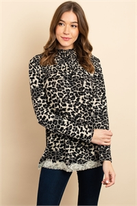 S13-12-3-T2463 TAUPE ANIMAL PRINT TOP 3-2-2