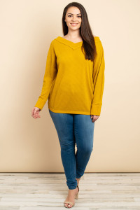 S13-12-3-T1224X MUSTARD PLUS SIZE TOP 3-2-2