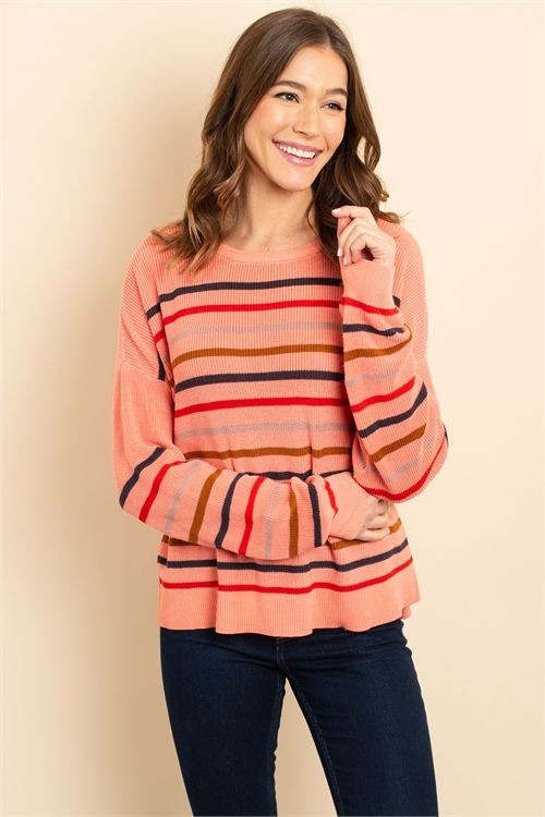 S17-11-2-S3426 CORAL MULTI SWEATER 1-1-1