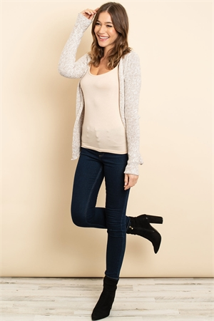 S13-4-2-C3398 TAUPE IVORY CARDIGAN 2-2-2