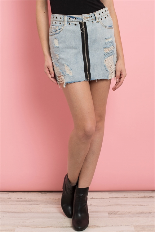 S10-8-1-S7205 LIGHT BLUE DENIM SKIRT 3-2-1