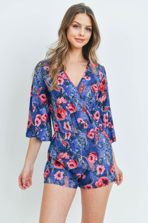 C22-A-1-R3823 BLUE WITH FLOWERS ROMPER 3-4