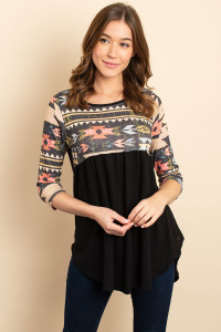 C32-A-1-T046 BLACK AZTEC PRINT TOP 1-2-2