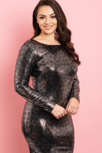C70-A-2-D1443X BLACK SILVER PLUS SIZE DRESS 2-2-2