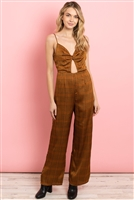 S13-11-3-J5612 BROWN CHECKERED JUMPSUIT 3-2-1