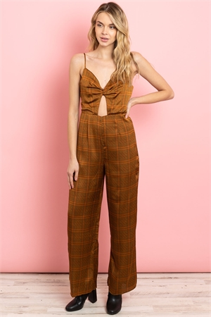 S14-11-1-J5612 BROWN CHECKERED JUMPSUIT 4-2-1