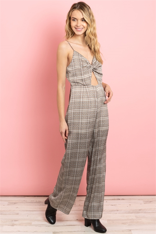 S16-3-3-J5612 IVORY BROWN CHECKERED JUMPSUIT 3-2-1