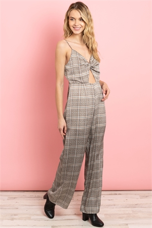 S14-11-1-J5612 IVORY BROWN CHECKERED JUMPSUIT 4-2-1