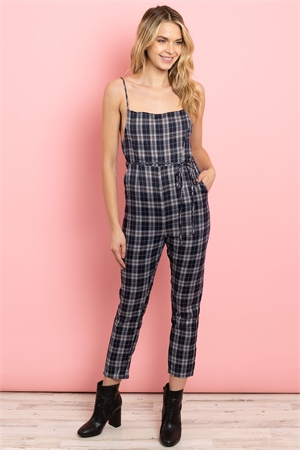 S14-11-1-J2148 NAVY CHECKERED JUMPSUIT 3-1-1