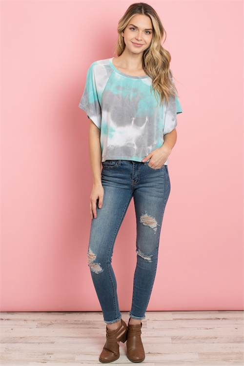 C14-A-1-T102052 MINT GRAY TIE DYE TOP 3-2-1