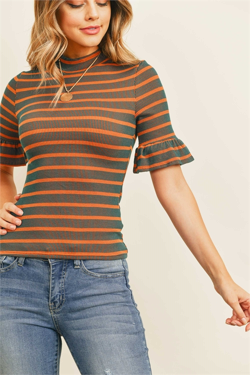 C64-B-1-T6485 HUNTER GREEN MUSTARD STRIPES TOP 2-2-2