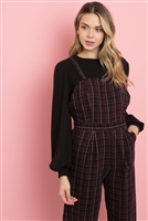 S5-3-2-J71596 WINE CHECKERED JUMPSUIT 2-2-2