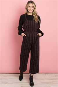 S16-8-3-J71596 WINE CHECKERED JUMPSUIT 3-1-2