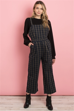 S16-8-3-J71596 NAVY CHECKERED JUMPSUIT 2-1