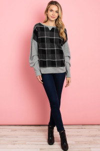 SA4-7-3-S15 GRAY BLACK CHECKERED SWEATER 2-2-2