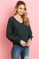 S4-3-1-T9152 HUNTER GREEN CAMEL PRINT TOP 2-2-2