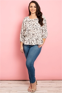 S9-14-2-T84241X IVORY MULTI PRINT PLUS SIZE TOP 3-2-1