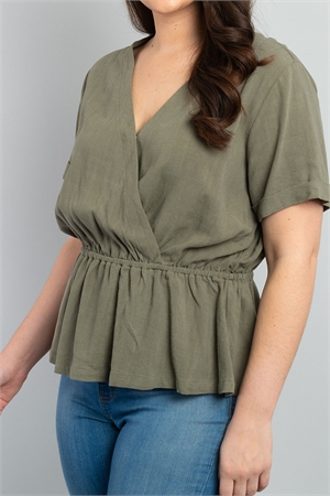S8-10-4-T8446X OLIVE PLUS SIZE TOP 3-2-1