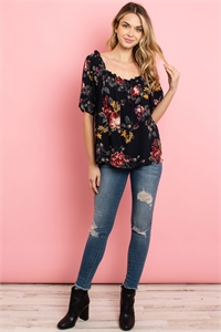 S4-8-3-T84132 NAVY FLORAL TOP 2-2-2