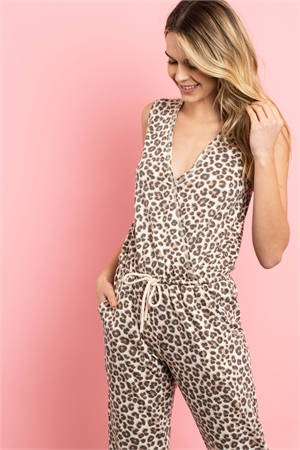 SA3-5-2-J71371 BROWN LEOPARD PRINT JUMPSUIT 2-2-2