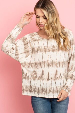 C10-A-2-T8885 IVORY BROWN TIE DYE TOP 2-2-2
