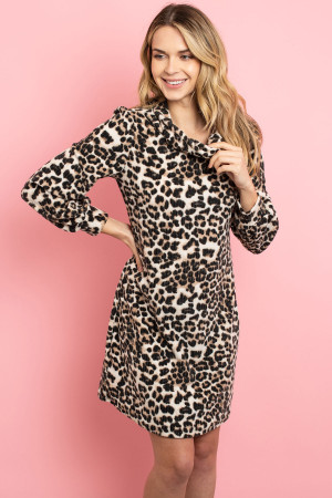 C34-A-3-D16666 TAUPE ANIMAL PRINT DRESS 2-2-2