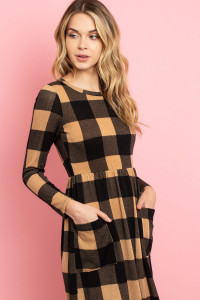 C50-A-3-D14316 BLACK TAN CHECKERED DRESS 2-2-2
