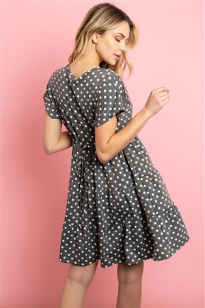 C80-A-2-D8658 CHARCOAL WHITE DOTS DRESS 2-2-2